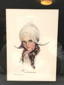 Vintage Harrison Fisher 1930's Print Girl in Hat Miss Knickerbocker Framed