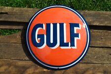 Gulf Oil Corporation Embossed Tin Metal Sign - Gasoline - Vintage - Retro