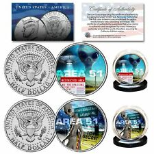AREA 51 ALIEN UFO United States Air Force Nevada Space Ship U.S. JFK 2-Coin Set