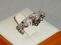 Damen Kunst Nouveau Blume und Blatt Design 925 Silber Weiß Saphir, Ewigkeit Ring