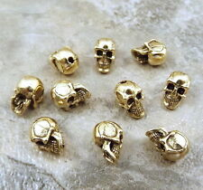 5.5mm SKULL Beads with Vertical Hole -Gold Tone - 10 Pewter Beads - 5203