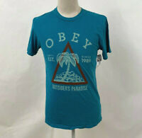 Obey Men's T-Shirt Outsider's Paradise Fresh Teal Size M NWT Shepard Fairey