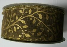 Brown Christmas Ribbon with Gold Vines  2-1/2 in x 120 ft  (40 Yards)  oly/Nylon