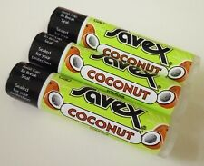3pc Savex Lip Balm stick or Dry Chapped Lips each 0.15oz / 4.2g - Coconut