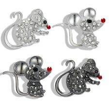 Fashion Crystal White Black Mouse Animal Brooch Pin Women Men Jewelry Gift Charm