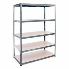 More details for grey 5 tier heavy duty metal garage shelving boltless storage racking in 2 sizes