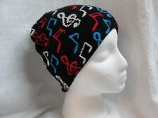 BLACK BEANIE WITH MULTII COLORED MUSIC NOTES WINTER HAT