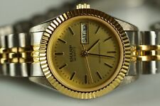 Watch - SHARP Womens Vintage Steel Gold Day Date 24mm Watch Jubilee Band 367136