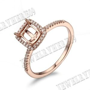 Solid 18K Rose Gold 4.5X5.5mm Cushion Emerald Diamonds Semi Mount Ring Setting