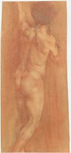 Male Nude Pastel Sepia Tone Drawing-1920?-Eleanor Modrakowska (1879-1955)