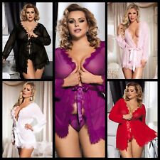NEW SEXY LADY TRANSPARENT ROBE DRESSING GOWN LINGERIE NIGHTWEAR SIZES 8-22 UK