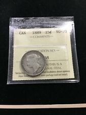 1889  ICCS Graded Canadian, 25 Cent, **VG-10**