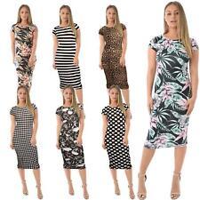 Womens Cap Sleeve Stripe Skull Animal Print Stretch Bodycon Midi Maxi Dress 8-22