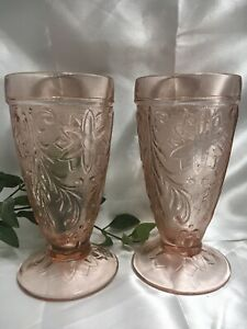 2 Vintage Indiana Tiara Sandwich Glass Footed Tumbler Rose Pink Chantilly 1979