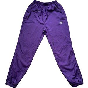 VTG Adidas Nylon Windbreaker Trefoil Logo Track Pants Lined Men's Medium Purple