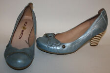 GOLD BUTTON Blue Retro Leather Pumps Shoes 38 7 Shimmer Stacked Heels