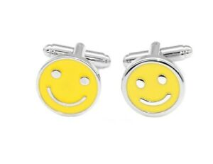 Silver-Tone Mens Cuff Links Happy Smiley Face Mens Cufflinks