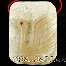 Exquisite! Natural Jade Carved Swan Pendant Bead