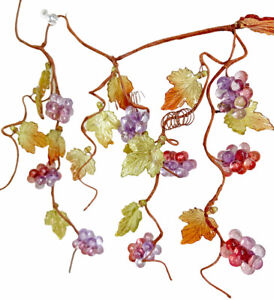 "Vintage Mini Lucite Grapevine 1"" Grapes, Leaves Clusters Wired Raffia Vine"