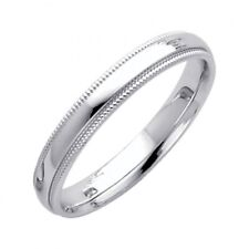 Plain Real Solid 14K White Gold 3mm Comfort Fit Milgrain Unisex Wedding Band