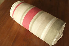 Laura Ashley Awning Raspberry Stripe  Fabric Complete Bolster Cushion - Handmade