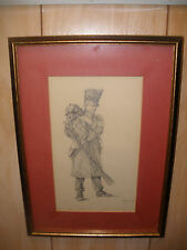 Antique 19th 1859  drawing French Napoleonic soldier Infanterie Chasseur