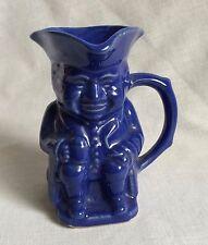 Blue Pottery Colonial Man Creamer Tricorn Hat Figural Handle Vintage