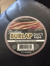 "Fashion Burlap Duct Tape Red Zebra 1.88"" x 10yds New!!!"