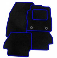 Ford Fiesta mk8 (2011+) Tailored Black + BLUE TRIM Car Floor Mats Carpets+ Clips