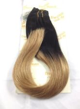 "Ombre 20""-22"" Black/Caramel Blonde Remy Human Hair Extentions Clip on Thick Full"