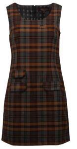 Ladies Retro Mod Grey/Tan Tartan Pinafore Tunic Dress