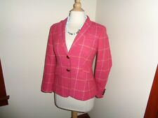 Talbots Wool School Boy Blazer Jacket Sz  Womens 2 Coral Pink Plaid