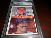1984 DONRUSS Rollie Fingers Brewers Gaylord Perry Padres #A Signed PSA/DNA Auto