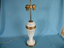 Antique FACETED & ENAMELD MILK GLASS LIGHT LAMP  unusual & unique