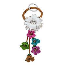 Floral Paradise Genuine White Leather Loop Keychain KeyFinder