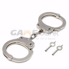 Professional Chrome Nickle Plated Steel Double Lock Police Handcuffs & Keys