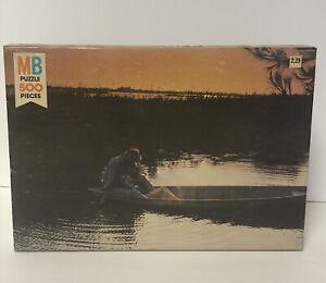 Vintage Puzzle 1981 Milton Bradley Life Series 500 piece - Sunset Canoe Love
