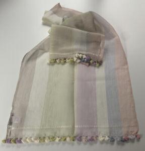 Paul Smith Pastel MULTISTRIPE SCARF 70% COTTON 30% Silk Length 180cm x 20cm