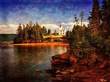 PHOTOGRAPHY LANDSCAPE LIGHTHOUSE FOREST SHORE LAKE SEA TREES ART POSTER MP3500A
