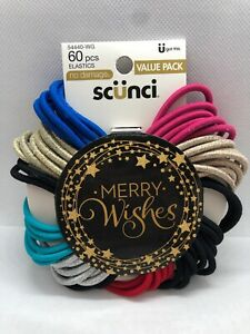 Conair Scunci Multi Colored Elastic Hair Ties, 60 Ct Black Pink Silver Gold Blue