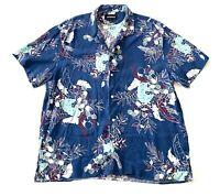 Bonobos Hawaiian Floral Button Down Blue Beach Short Sleeve Shirt Mens XL