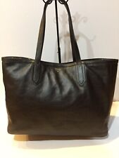 Fossil  Extra Large XL Shopper Tote Bag Black Pebbled Leather Shoulder Purse
