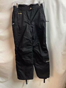 Girls Spyder Black Insulated Ski Snow Pants Size 14 Gold logos