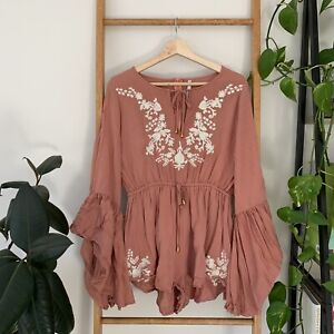Indikah Womens Dusty Pink Floral Embroidery Long Sleeve Playsuit Romper Size 12