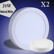 2X 24W Neutral White Round LED Panel Down Light  Indoor Ceiling Fixtures Lamp