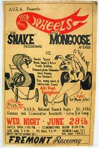 1969 Snake vs Mongoose Drag Race Poster Fremont Raceway Hot Wheels A.H.R.A.