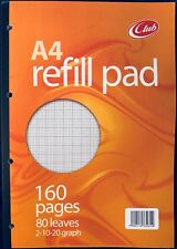 Club A4 Refill Pad Ruled 80 Leaf Graph 2-20-20 Hole Punched Side Bound CL80G