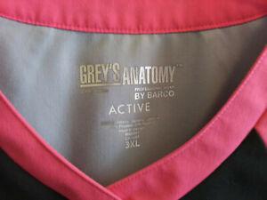 Barco Grey's Anatomy Active Scrub Top Sz 3XL Poly/Rayon Black/Gray/Pink EUC
