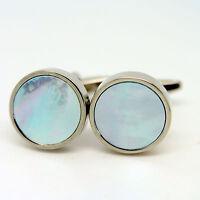Circular Blue Cufflinks Mother Of Pearl Light Blue Hint Round Wedding Cuff Links