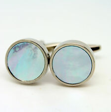 Circular Mother Of Pearl Cufflinks with Light Blue Hint